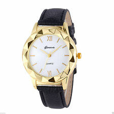 Ladies Fashion Geneva Gold Quartz White Faced Black Band Wrist Watch. (Aussie)