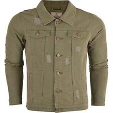 Mens Denim Jacket Khaki Jeans Distressed Rips Ripped 4 Pockets Fashion Jacket