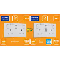 BG 13A Double Plug Socket with Built-in 2.4GHz Wi-Fi Range Extender + USB- White