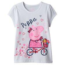 "2017 - ""PEPPA PIG - BICYCLING"" GIRL'S TEE SHIRT SIZE 5 NWT #5G"