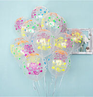 10X Star Clear Neon colors Latex Balloons Happy Birthday B-day Party Decorations
