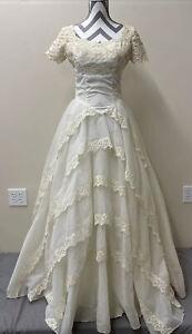 Bridal Originals by Sylvia Ann Vintage Wedding Dress Ivory Lace, FS Bnfts Chrty