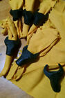 Set of 6 Vintage Carved Black Steer Head Wooden Napkin Rings & Gold Tone Napkins