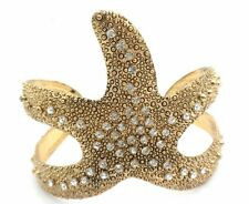 Starfish Cuff Bracelet W Crystal Gold Plated Women NEW