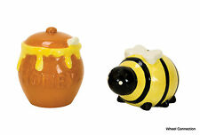 Salt and Pepper Shakers Bee & Honey Pot Kitchen Country Home Cabin Decor