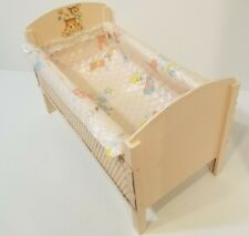 Vintage Pink Wicker/Wood Baby Doll Bed Deer & Butterfly - Some Repairs Needed