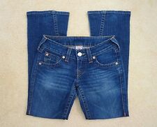True Religion Womens Joey Bootcut Jeans Size 26 Low Rise Dark Wash Flap Pocket