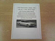 1967 Ford full-size factory cost/dealer sticker prices for car & options $