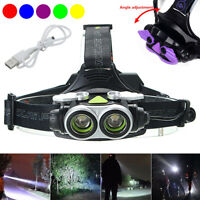 50000LM Rechargeable T6 2x LED Headlamp Headlight Torch Lamp USB 18650 Light