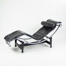 Vintage Original Le Corbusier Cassina LC4 Chaise Lounge Chair Black Leather