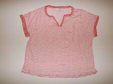 LIZSPORT Georgia Peach White Striped V Neck 3/4 Sleeve Shirt Top XL NEW Womens