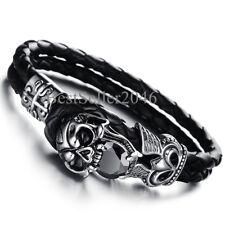 """Men Vintage Skull Cross Double Layer Black Braided Genuine Leather Bracelet 8.5"""""""