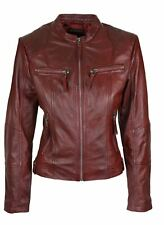 Ladies Real Leather Jacket Short Fitted Burgundy Retro Chinese Collar