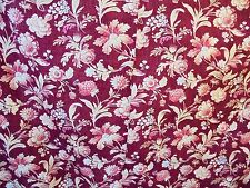 LAURA ASHLEY COTTON FLORAL UPHOLSTERY FABRIC 76'' BY 74'' BURGUNDY/BEIGE