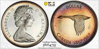1967 CANADA GOOSE SILVER DOLLAR PCGS PL66DCAM GEM UNC CHOICE COLOR TONED (DR)