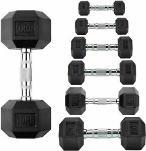 Cast Iron Hex Dumbbells Rubber Encased Hexagonal Weight Dumbbells Set Gym & Home