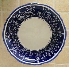 """DERUTA OF ITALY Jilly Walsh Large Serving Bowl 12.5"""" Blue majolica hand painted"""