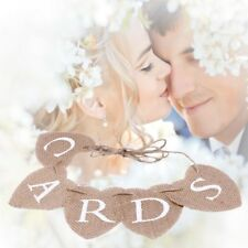 Vintage DIY Wedding CARDS Bunting Banner Rustic Decor Burlap Hearts Hanging Sign