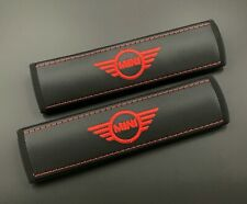 Mini Cooper Seat Belt Cover Black pads with Red embroidery 2PCS