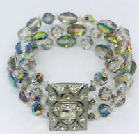 Beautiful Faceted Gray AB Crystal Beaded Bracelet Rhinestone Vintage Jewelry