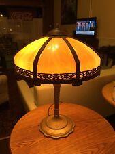 Antique 8 Panel Slag Glass Table Lamp 1920s