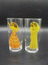 2 Vtg  1940's Risque Peek A Boo Naked Pin Up Girl Peep Show Drinking Glasses