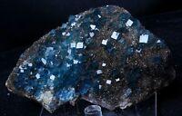 New Find Transparent Blue Cube Fluorite CRYSTAL CLUSTER Mineral Specimen 561g