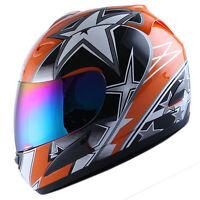 NEW DOT Motorcycle Full Face Helmet Street Bike Adult Star Orange Size S M L XL