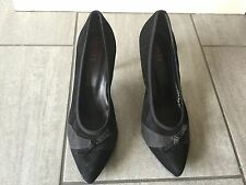 Jones Ladies Black Suede Heeled Shoes Size 42 / 8. Good Condition.