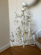 Large Italian Tole Faux Bamboo Pagoda Chandelier Chinoiserie With Bells