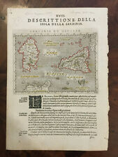 AUTENTICA E ANTICA CARTA DELLA SARDEGNA SICILIA DEL MAGINI DEL 1596 CVGL3/19
