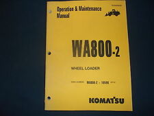 KOMATSU WA800-2 WHEEL LOADER OPERATION & MAINTENANCE BOOK MANUAL S/N 10598-UP
