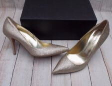 DSQUARED2 GOLD GLITTER COURT SHOES HEELS PUMPS>BN>>£320+>6uk -39>POINTED>WEDDING