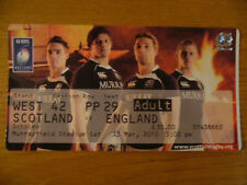 2010 SCOTLAND V ENGLAND RUGBY UNION MEMORABILIA TICKET MURRAYFIELD 6 SIX NATIONS