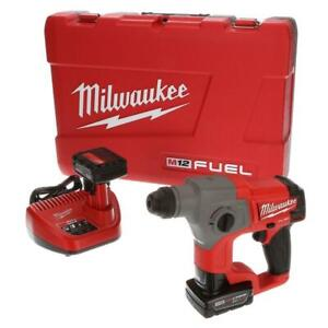 Milwaukee Rotary Hammer Drill 12-Volt Batteries Brushless Cordless Charger Case