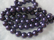 Purple Glass Pearl Beads 8mm Jewelry Beads 58 Round Spacer Jewelry Findings