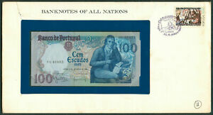100 Escudos BANKNOTES OF ALL NATIONS PORTUGAL 1980 Banknote with Stamp UNC