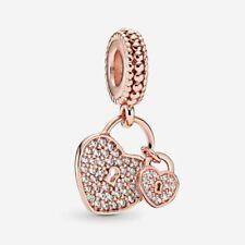 New Authentic PandoraRose Gold Pave Heart Padlocks Dangle 925ALE Charm 781807
