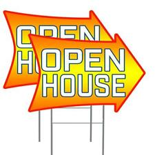 Open House 2 Sided Arrow 2 Pack Double Sided Yard Signs 16 X 24 With Metal S