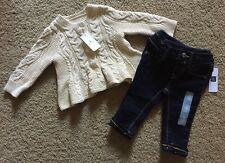 Baby Girl 3-6 Month Baby Gap Cream Cable Cardigan & Denim Jeans Outfit