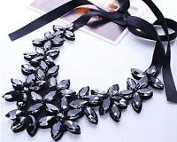 Fashion Women Chain Choker Statement Chunky Flower Pendant Crystal Bib Necklace