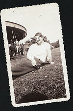 Vintage Antique Photograph Woman Laying on Ground by Carousel Horse Ride