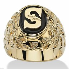 14 K GOLD FINISH ONYX PERSONALIZED MENS INITIAL NUGGET GP RING
