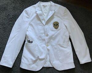 Zara Mens White Skull/Dragonfly Embroidered Blazer Size M/L Worn Once