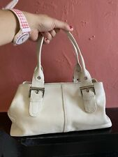 White Cream Leather Grab Bag Handbag Tommy Kate Pink Lining
