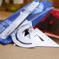 PRO 4Pcs Square Triangle Ruler Aluminum Alloy Protractor Drawing Supplies Set UK