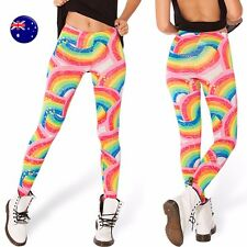 Women Lady Rainbow Colorful Costume Skinny Stretch Leggings Pants Jeggings