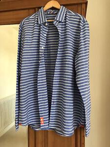 Boden Mens Blue Linen Striped Long Sleeve Shirt Size XL NEVER WORN