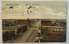 1908 Antique Postcard Main St Looking West Denison Texas TX PC