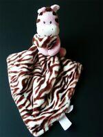 BABY STARTERS Rattle ZEBRA Pink Brown Minky Satin Blanket Lovey Plush Toy